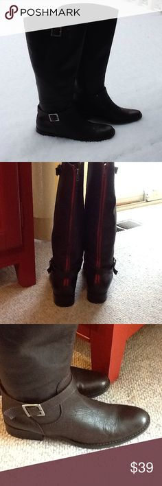 Leather low-heel boots SNOW in Seattle today! Leather upper, leather sole, Made in Brazil. Cute red back zipper, buckle ankle strap, decorative upper buckle with silver color buckles. Good used condition. Betty Shoes Winter & Rain Boots