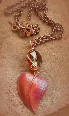Necklace Falling Leaf by DancingRainbows, $49.00 USD #zibbet #necklace #handmade