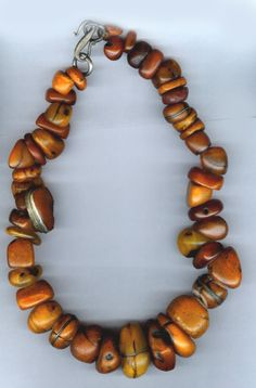 An amber necklace by Linda Pastorino. Featuring Tibetan Amber pieces.