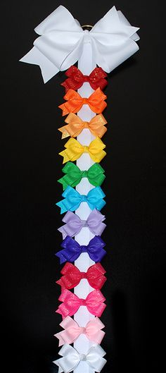 Small Glitter Hair Bow Bunch- makes a great gift!  A rainbow of bows attached to a hair bow holder that hangs on the wall.
