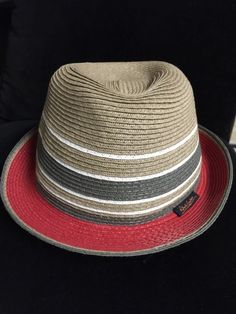 Robert Graham Stripe Straw Fedora Hat Size M, Tan with Red, White & Olive #RobertGraham #FedoraTrilby