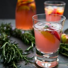 Peach Rhubarb Rosemary Blossom Ice  - Perfect drink for hot summer days!