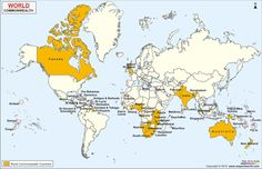World Commonwealth Countries Map shows all the commonwealth nations of the world. Also get to know members of the world commonwealth countries. Commonwealth Games 2018, British English, American English, Country Maps, Modern History, Home Schooling, Sierra Leone, Countries Of The World, Teaching English