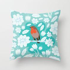 Robin Throw Pillow by Ornaart - $20.00