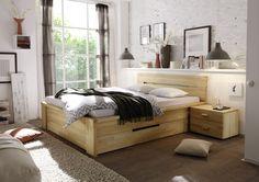 #Holzbett Roros aus massiver #Kernbuche - mit integrierten #Schubladen für viel #Stauraum :-) #Schlafzimmer #Bett Findet ihr unter www.moebel-ideal.de