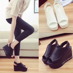 New Fashion Womens Platform Sandals High Hells Open Toe Sandals Elevated Shoes #Unbranded #PlatformsWedges #Casual