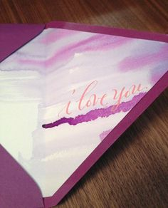 gorgeous calligraphy on the inside of an envelope and watercolor. iloveyou_liner