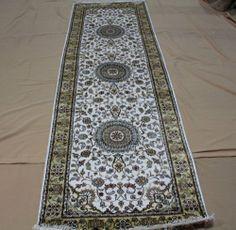 "2'6""x8' Hand-knotted 450 kpsi Silk Persian Tabriz Ivory Runner Rug B799"