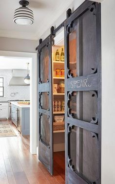 These add a charm to this and Kristina Crestin Design Pantry doors. Pantry antique door hung with barn door hardware. Antique doors look even better if installed as sliding Farmhouse Homes, Farmhouse Style, Farmhouse Decor, Farmhouse Ideas, Modern Farmhouse, Rustic Decor, White Farmhouse, Stil Farmhouse, Rustic Crafts