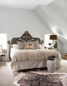 love this, a dash of everything, shabby, vintage, modern, oh and a furry throw <3