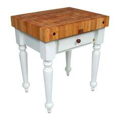 John Boos X Tuscan Isle Boos White Butcher Block Table With - Boos gathering block ii 36x24 butcher block table 2 wicker basket