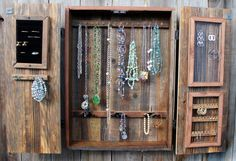 Jewelry Storage ideas.  Our jewelry cabinet featured here.  ;-)