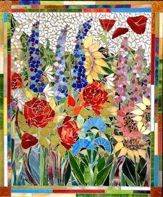 Veronica Scott's gallery of flower mosaics. Mosaic Garden Art, Mosaic Tile Art, Mosaic Flower Pots, Mosaic Artwork, Mosaic Diy, Mosaic Crafts, Mosaic Projects, Stained Glass Projects, Stained Glass Art