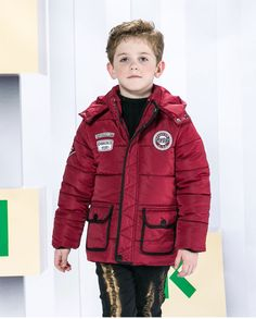 2016 New 3-8 Years Boys Jackets Winter Coat Solid Long Sleeve Boys Coat Hooded Kids Clothes Fashion Thick Warm Children Clothing