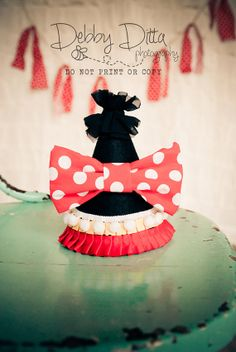 Minnie Mouse Disney Happy Birthday Baby Girl Frilly Ruffle Cone Hat. Perfect for baby birthday cake smash photo prop or trip to Disneyworld.