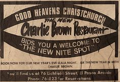 Charlie Brown Restaurant, From an ad out of the Christchurch Star Newspaper, December 16, 1975. Christchurch, New Zealand.