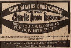 Charlie Brown Restaurant, From an ad out of the Christchurch Star Newspaper, December 16, 1975. Christchurch, New Zealand.