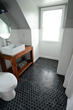 Small Bath Remodel Part Dos Argos Paint Bathroom And Tile Flooring in Black Hexagon Tile Bathroom is part libraries of home design idea and decor. Slate Bathroom, Bathroom Floor Tiles, Bathroom Renos, Bathroom Black, Paint Bathroom, Bathroom Ideas, Bathroom Makeovers, Bathroom Designs, Neutral Bathroom