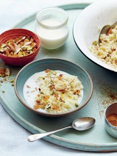 Get the perfect start to the day with this healthy, high protein breakfast of couscous, raisins, silvered almonds, pine nuts and pistachios in warm milk.