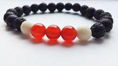 Men's bracelet  Black and White Lava Stone Agate Beaded by Fabramo