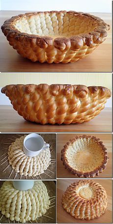 Braided Bread Dough Basket * 200 grams Bread Flour * 4 grams Yeast * 20 grams Sugar * teaspoons Salt To Taste * 100 milliliters Water * 1 whole Beaten Egg, Divided * 20 grams Butter, Melted Bolo Pinata, Bread Recipes, Baking Recipes, Pan Relleno, Bread Art, Bread Shaping, Braided Bread, Think Food, Bread Bowls