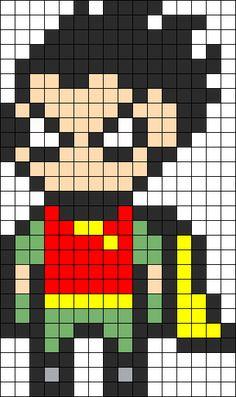 Robin From Teen Titans Perler Bead Pattern / Bead Sprite
