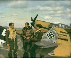 Pilots from fighter group 4-11.JG54 with Hans Philipp BF-109 in Kokrl France…
