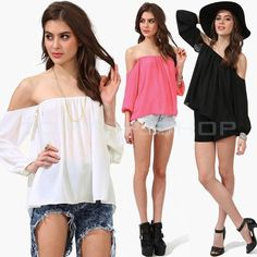 Fashion Women Chiffon Off-Shoulder Long Sleeve Loose Casual T-Shirt Blouse Tops #Unbranded #Blouse #Casual