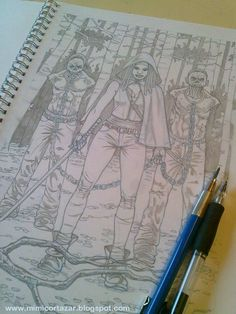Michonne with walkers - pencil