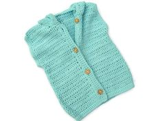 Baby Hoodie Sweater - Turquoise Sleeveless Vest Cardigan, Blue or Green - Handmade by Amanda Jane in Ireland
