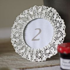 white lace photo frame wedding table number frame