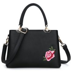 Cheap Tote Bags, Embroidered Bag, Embroidered Flowers, Tote Purse, Crossbody Bags, Black Leather Bags, Pu Leather, Black Tote Bag, Peony Flower