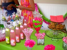 a lilly pulitzer bridal shower... Love the soda bottles. I can look into the jones soda and put Michael and Chelsea's photos on them?