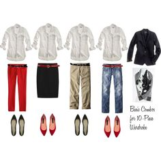 """10 - Piece Wardrobe - White Shirt"" by bluehydrangea on Polyvore"