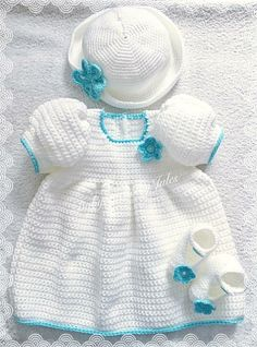 Beautiful baby girl gift set, includes booties, hat and dress