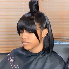 Thriving Hair Glueless Pre-Plucked Virgin Human Hair Straight Short Undercut Bob With Blunt Bangs 36 Bangs Ponytail, Weave Ponytail Hairstyles, Bob Hairstyles With Bangs, Baddie Hairstyles, Straight Hairstyles, Black Hairstyles, Quick Weave Hairstyles Bobs, Side Ponytails, Hairstyles Videos