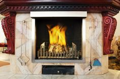 Ornate, Embellished Wood Burning Fireplace Wood Burning Insert, Gas Insert, Fireplace Tools, Home Fireplace, Traditional Fireplace, Traditional House, Outdoor Walls, Wall Signs, Game Room