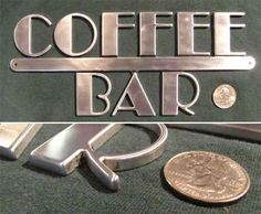 Deco+punk | Art Deco Machine Age Steampunk Metal Coffee Bar Sign | eBay