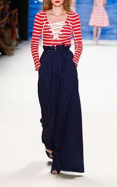 High Tide Wide Leg Marlene Trousers by LENA HOSCHEK for Preorder on Moda Operandi