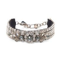 Rad� Statement Bracelet - Feminine with a hint of edge, this bejeweled bracelet feature allover crystals, hand-embellished with a floral-inspired cluster of contrasting crystals.