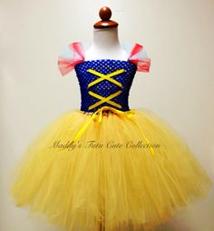 Snow White Tutu Dress Costume with red ribbon for by MTCCollection, $50.00