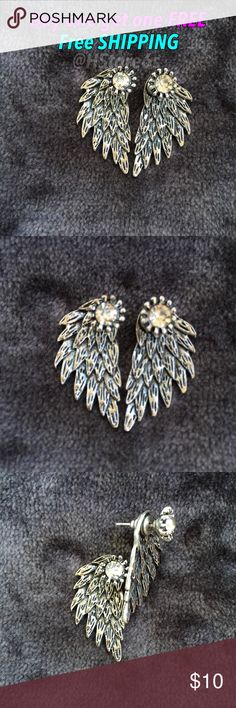 """Anti silver angel 😇 wings stud earrings ✨They are even prettier in person.  ✨NICKEL FREE  ✨BUY 1 Get 2 FREE (equal or less value)      - Price is firm except bundle      - Material: Alloy      - Color: Anti silver      - Size: 1.27"""" x 0.67"""" (Approx.)      - New- 1 pair  Keywords to what I sell: sterling silver silver plated jewelry white and yellow gold filled earrings ring bracelet bangles necklace anklet brecelet baby small medium large huge hoop earrings Stud earrings fashion jewelry…"""