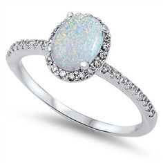 Sterling Silver Oval White Opal and CZ Halo Ring