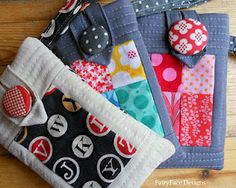 FairyFace Designs: Last minute gift idea: Phone Cozy Tutorial. Patchwork and quilted Sewing Tutorials, Sewing Crafts, Sewing Projects, Sewing Patterns, Sewing Ideas, Beginners Sewing, Sewing Diy, Quilting Projects, Fabric Bags