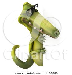Clipart of a 3d Dinosaur Wearing Glasses by a Sign 2 - Royalty Free CGI Illustration by Julos