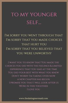 to my younger self about forgiving her for the mistakes that she made in th. Note to my younger self about forgiving her for the mistakes that she made in th.Note to my younger self about forgiving her for the mistakes that she made in th. Wisdom Quotes, Words Quotes, Me Quotes, My Past Quotes, Attitude Quotes, Sayings, Self Confidence Quotes, Strong Quotes, People Quotes