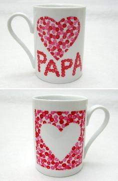 mugs pour papa - Regalos Diy For Kids, Crafts For Kids, Diy Christmas Mugs, Cadeau Parents, Diy Mugs, Navidad Diy, Fathers Day Crafts, Gifts For Dad, Crafts To Make