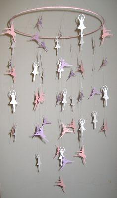 Dancing Ballerinas Hanging Paper Mobile by ChildishDesignsShop, $40.00
