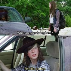 Aka destroying a car to kill a walker instead of just getting out of the car and kill him. #TheWalkingDead #WalkingDead #Season7