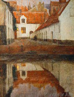 Albert Baertsoen - Petit cité le soir au bord de l'eau